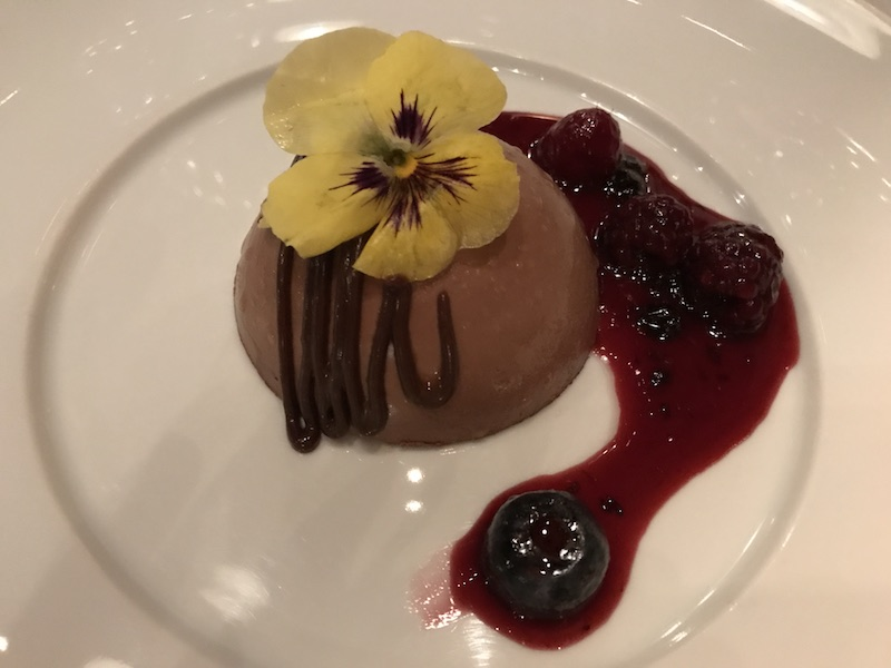 Chocolate mousse with red berries