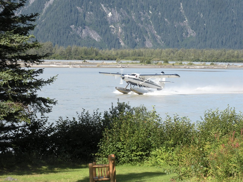 Taku Lodge arrival by floatplane