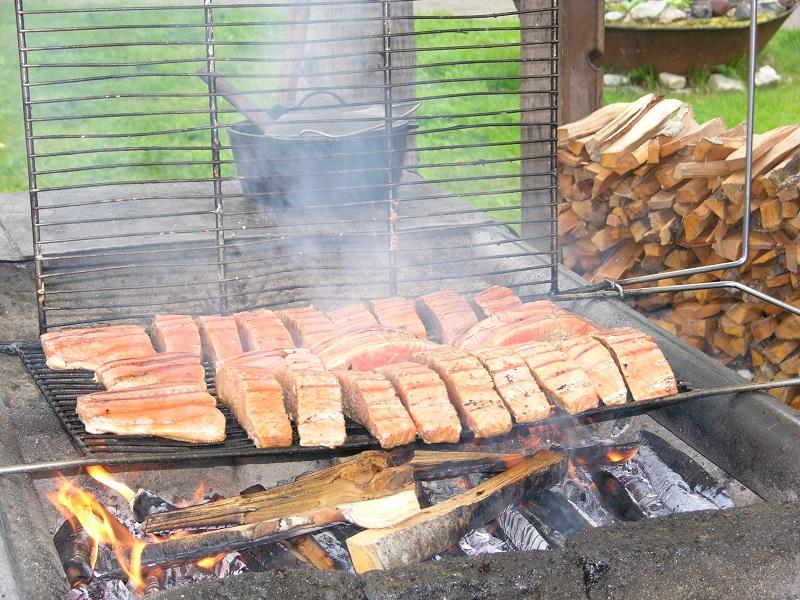 Taku Lodge salmon on the grill