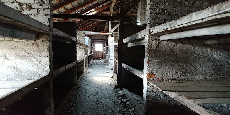Inside a barracks at Auschwitz where prisoners slept