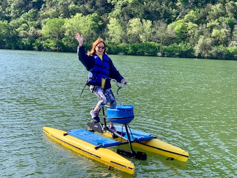 The author on a hydrobike