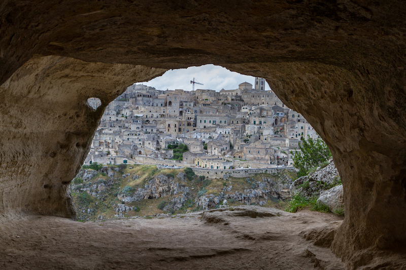 Visit Puglia - View of Mattera through a cave