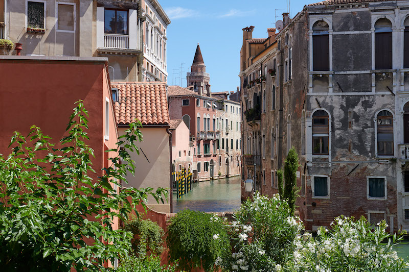 Take time to enjoy the garden overlooking the canal at Palazzo Morosini, Venice, Italy