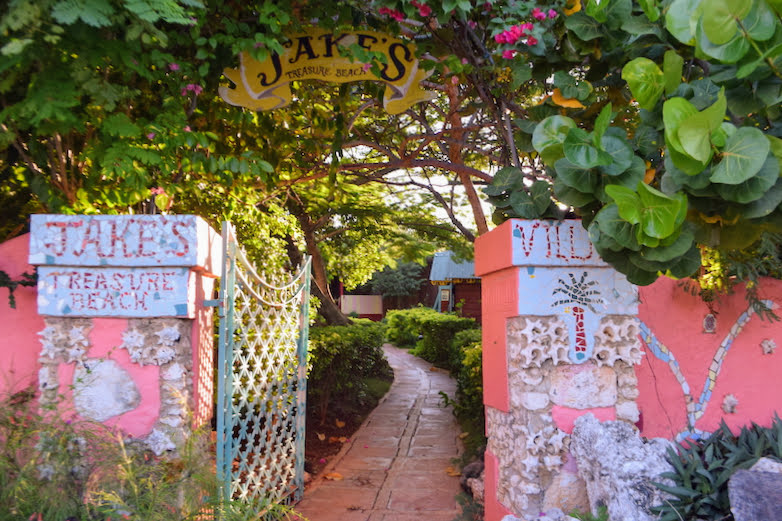 Fanciful entrance to Jakes Treasure Beach