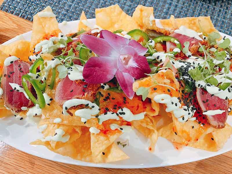 Tuna nachos, Angler and Ale