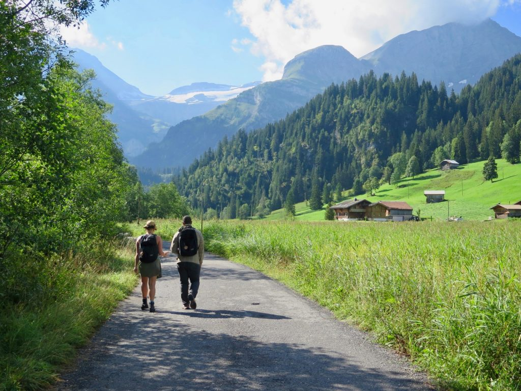 walking down a country lane outsie of Gstaad