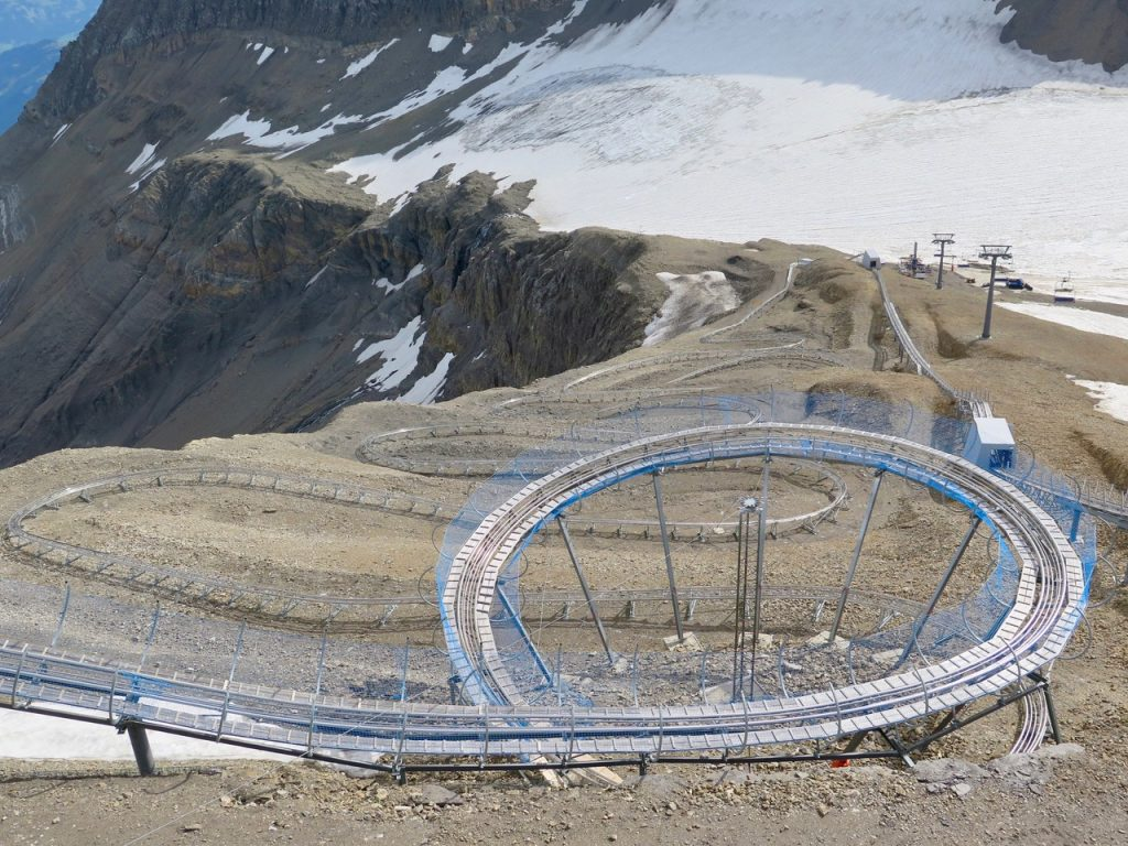 The bobsleigh run rises, falls, and loopdiloops on Glacier 3000.