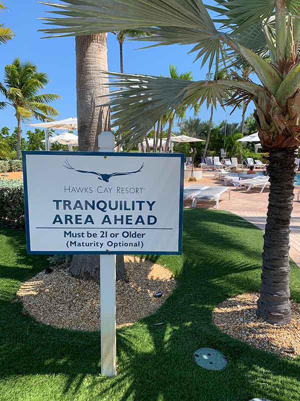 Tranquility Area sign