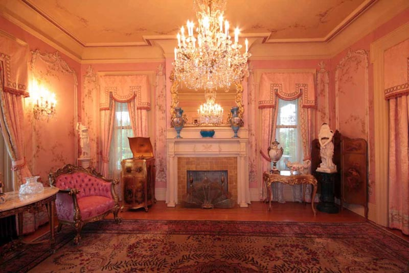 Parlor with hand-painted designs (Credit: McFaddin-Ward House)a