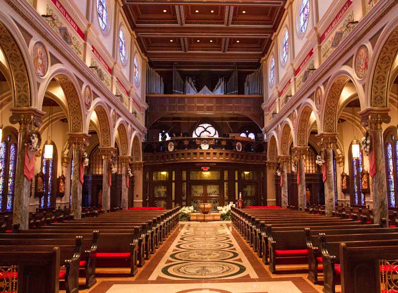 Nave and organ pipes at St. Anthony Cathedral Basilica in Beaumont