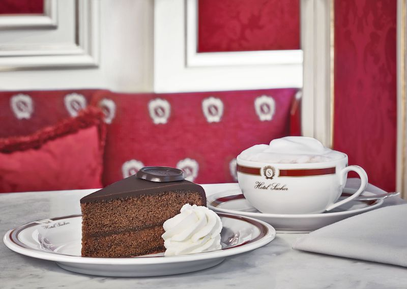 Coffee House Culture: Desserts are ubiquitous in coffeehouses throughout Vienna, but few rival the classic chocolate Sacher Torte, which some purists insist can only be made in Vienna. Courtesy: Hotel Sacher.