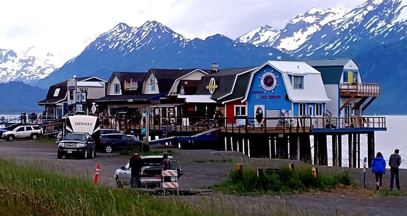 Shops on the Homer Spit on the Kenai Peninsula