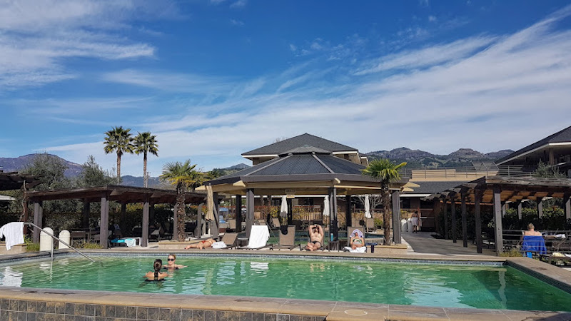 Calistoga Spa Hot Springs has four geothermal pools. You can float and gaze at the mountains beyond.