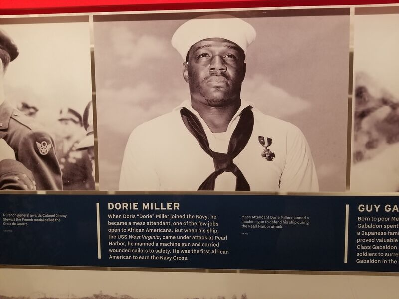 National Veterans Memorial: A photo of Dorie Miller, the first African American to earn the Navy Cross