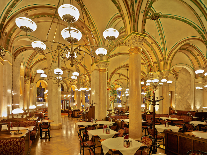 Café Centrale is palatial. Despite its formal ambiance, patrons can spend as long as they desire over a cup of coffee. No one is rushed. Back in the day, Sigmund Freud and Leon Trotsky were frequent patrons. Courtesy Café Central.