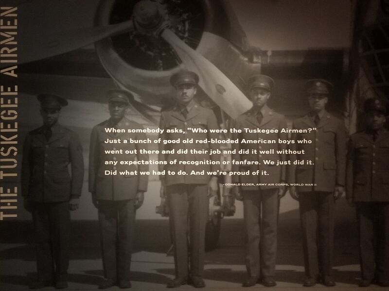 The Tuskegee Airmen are highlighted as part of the World War II exhibit
