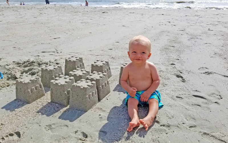 Wesley's sandcastles on the beach