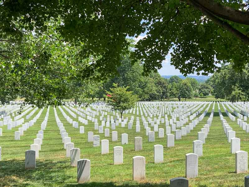 Arlington Cemetery just across the Potomac River from Washington DC