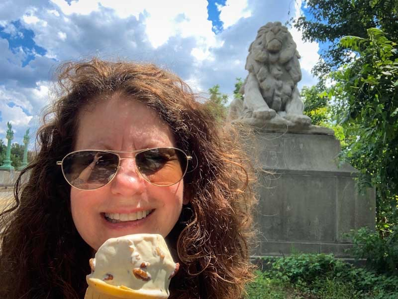Author, Deb Burst, enjoys a double-dip ice cream cone on Connecticut Ave .jpg