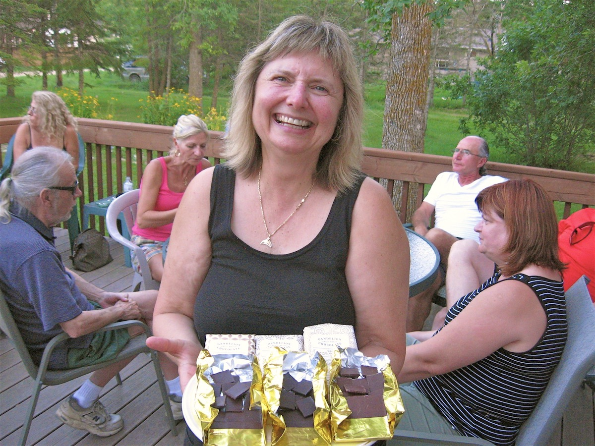 Doreen hosting a chocolate tasting on her deck at home in Manitoba