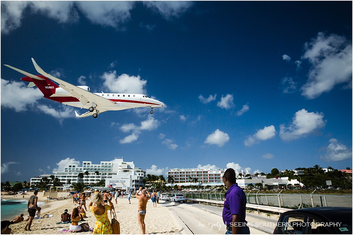 Planes landing over Maho Beach in Sint Maarten.