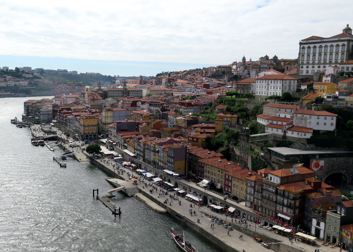 The historic Ribeira district stretches from the riverfront up to central Porto""