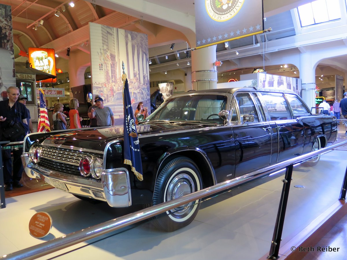 President John F. Kennedy was assassinated in this 1961 Lincoln Continental on November 22, 1963. It was later rebuilt with a permanent roof and remained in White House service until 1977