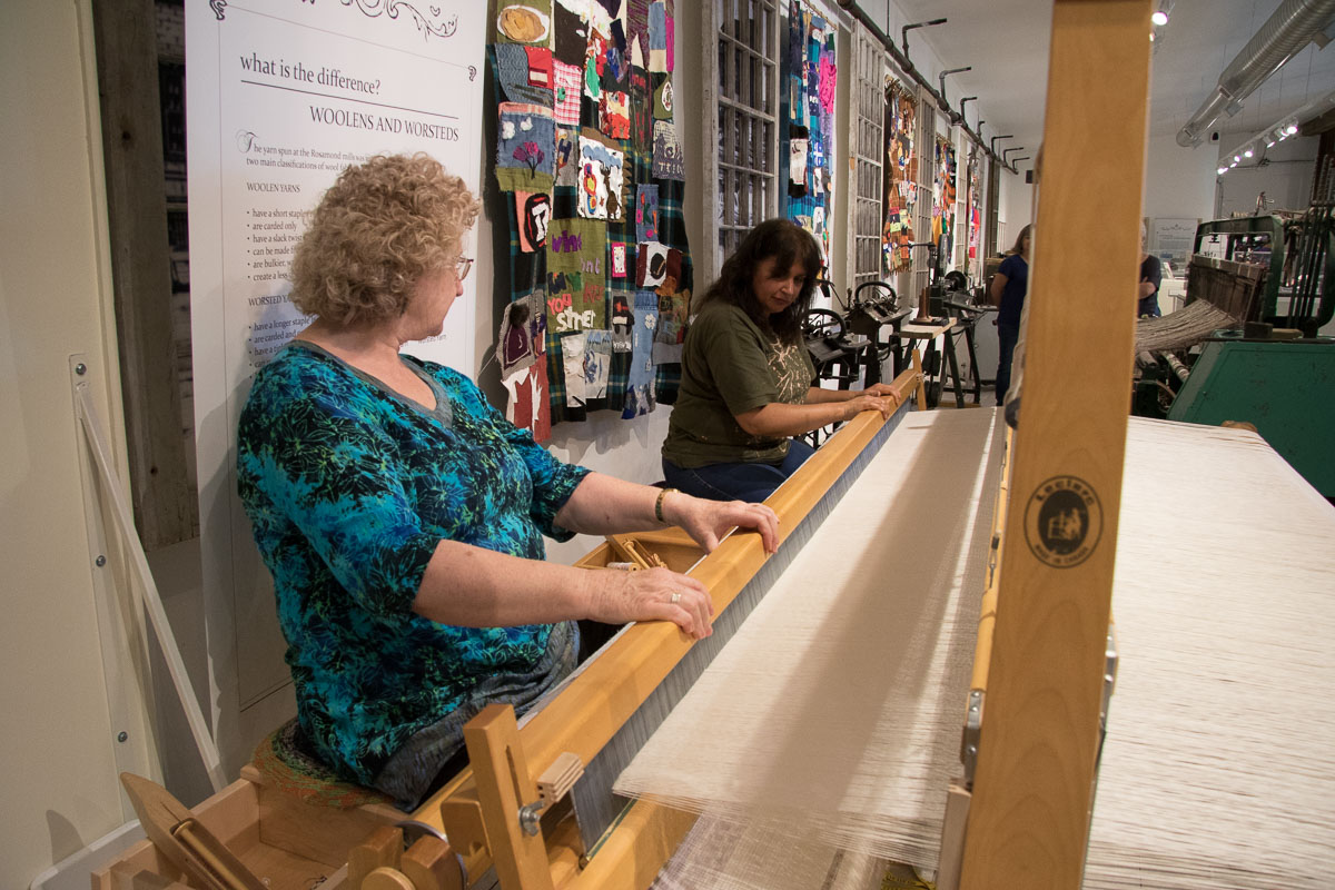 weaving demonstration at the Mississippi Valley Textile Museum in Almonte, Ontario.