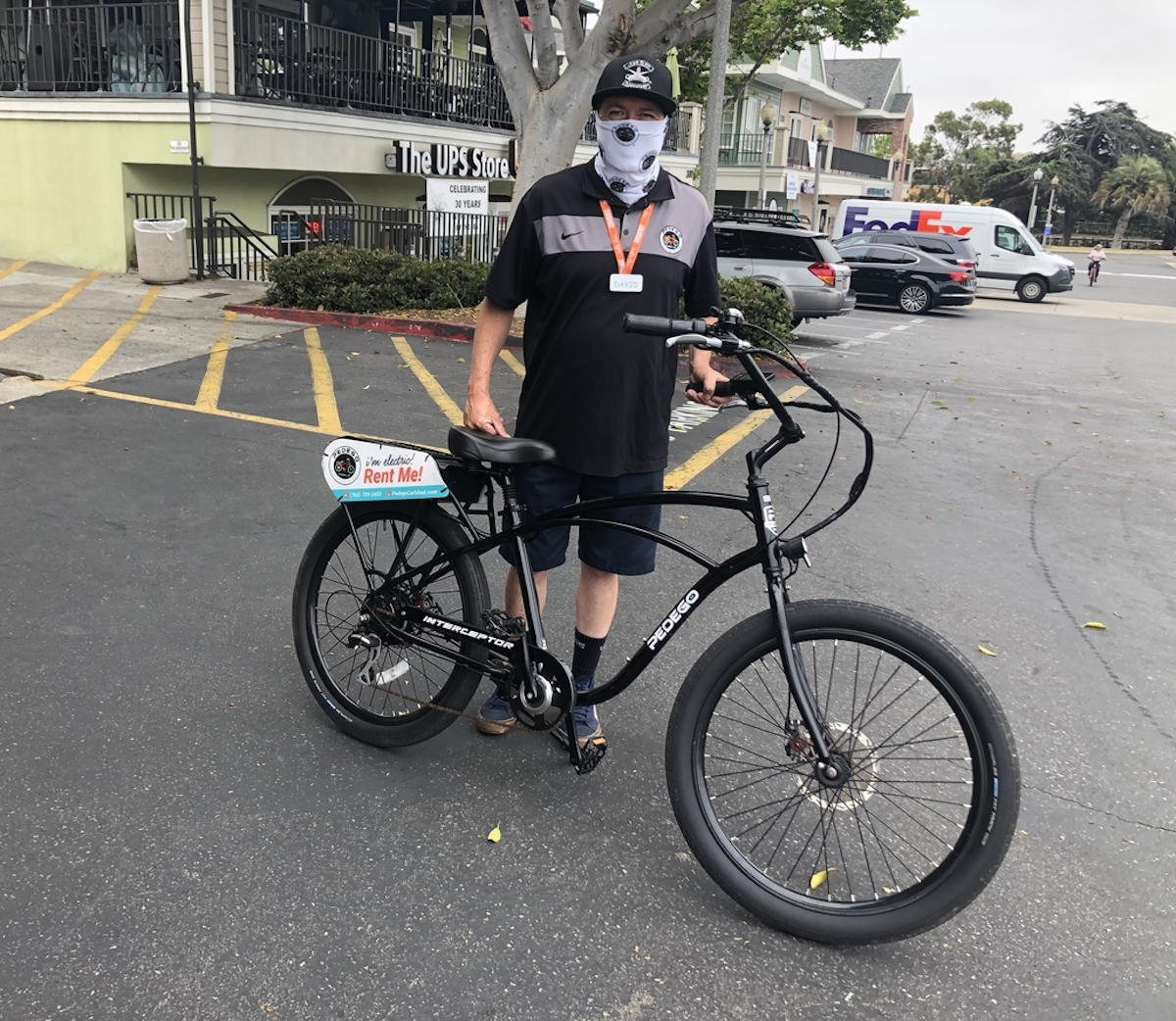 Pedego instructor wearing a mask in Carlsbad