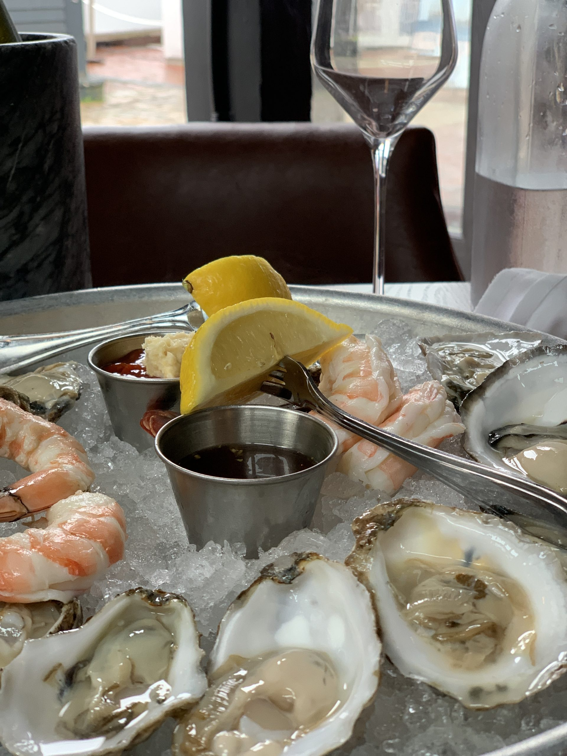 Shrimp and raw oysters on ice at 22 Bowen's Wine Bar & Grille in Newport, RI
