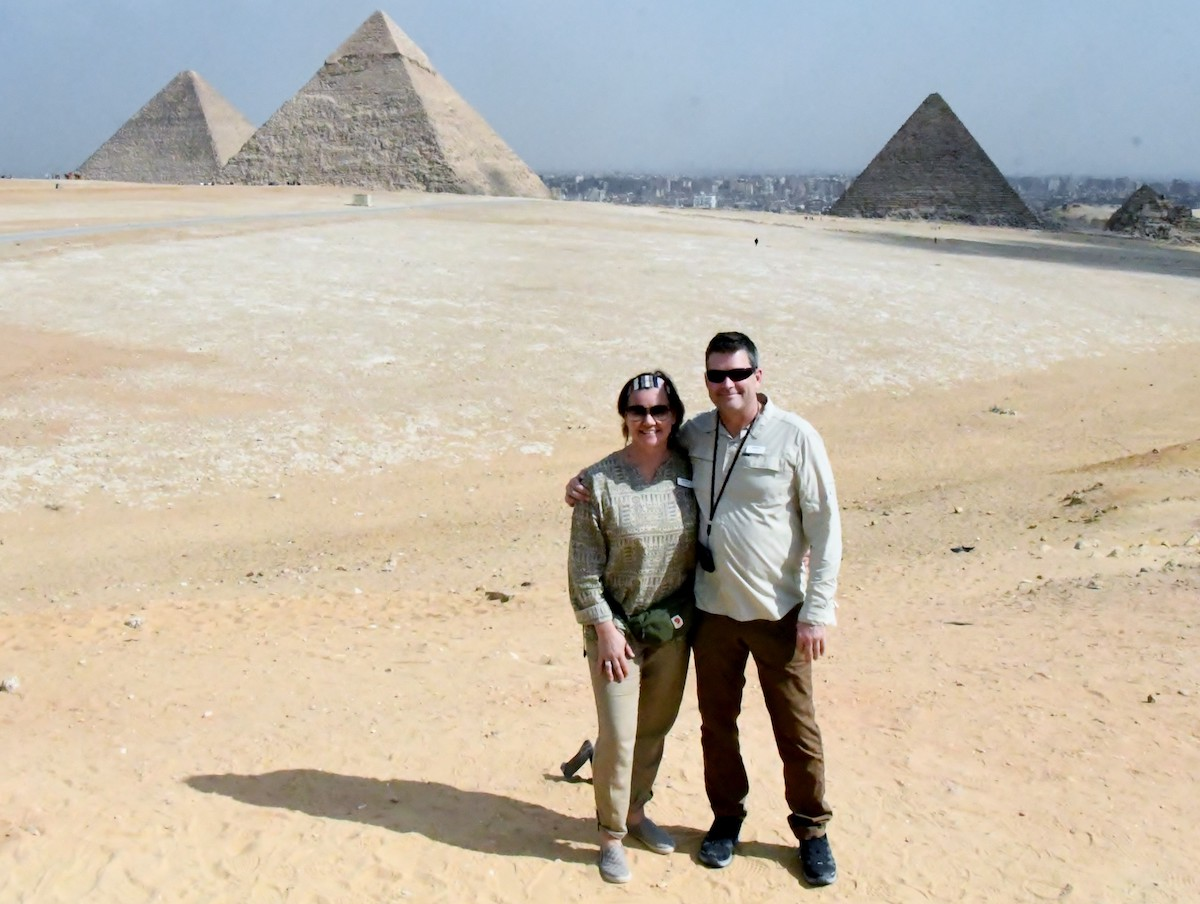 Some 29 years and many, many dates later - still on that travelling magic carpet ride, on the Giza Plateau, Egypt. (February 2020)