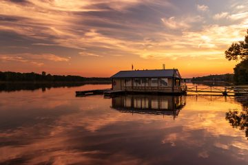 Southern Illinois Getaway: Sunset over the Ohio River and the E-town Restaurant - Rose Palmer