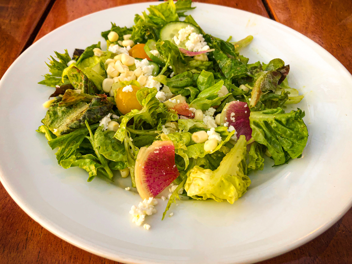 midweek LUXURY GETaway: Market Salad with shaved radish, smoked corn and queso fresco