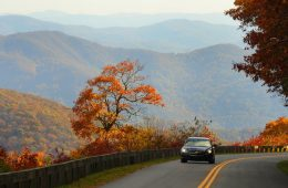Blue Ridge Parkway in autumn with mountains behind