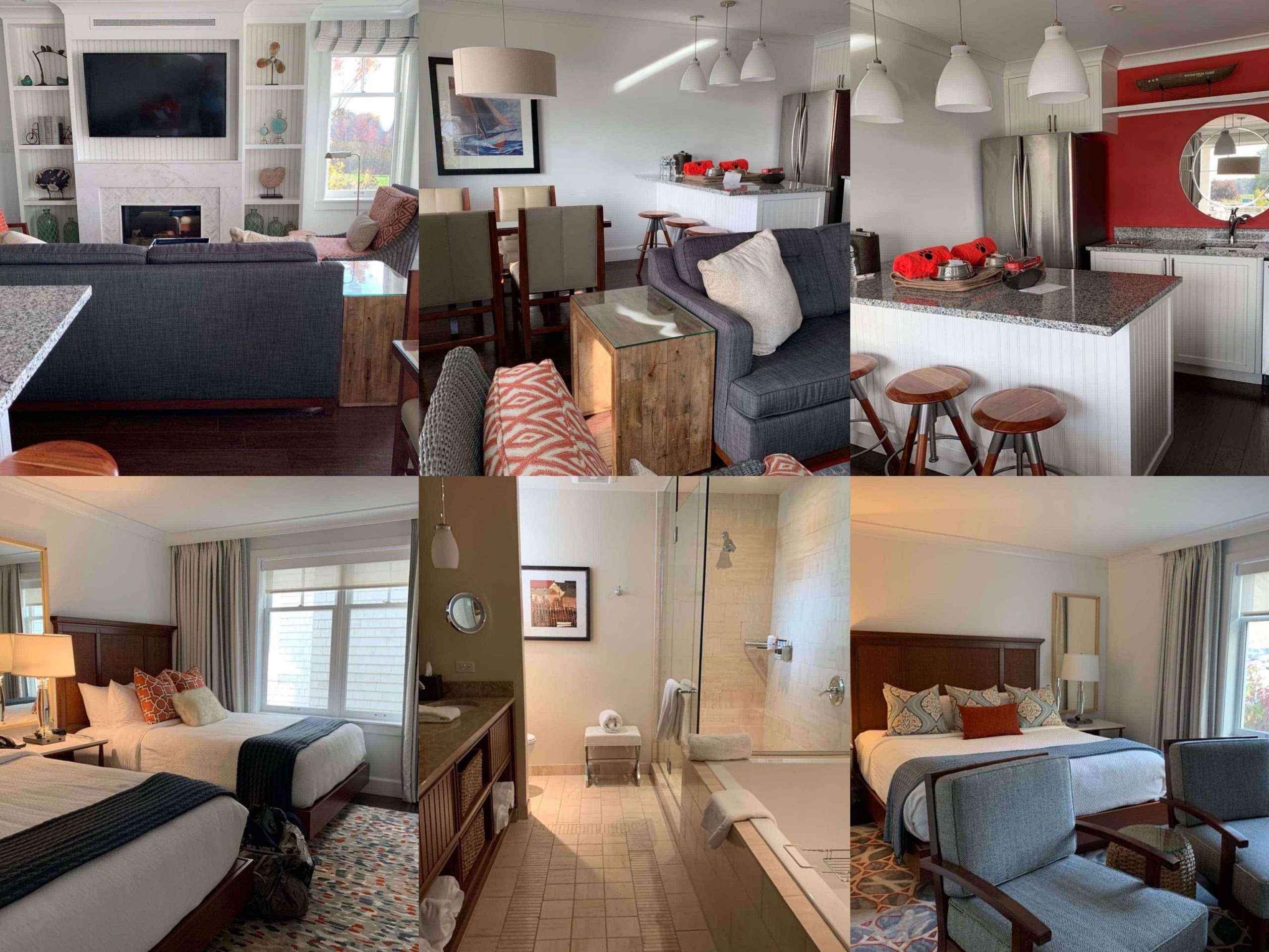collage with pictures of a Cove Suite at the Inn by the Sea