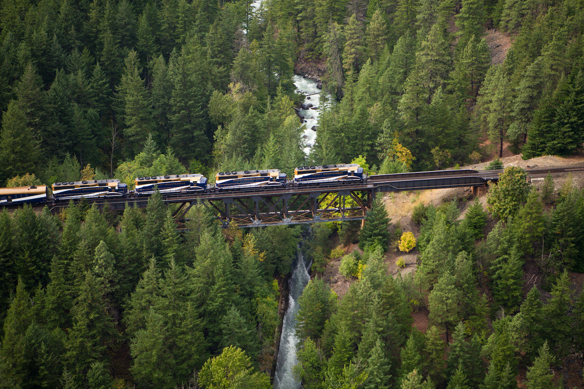 The Rocky Mountaineer as it travels through the Canadian Rockies (credit: Rocky Mountaineer)