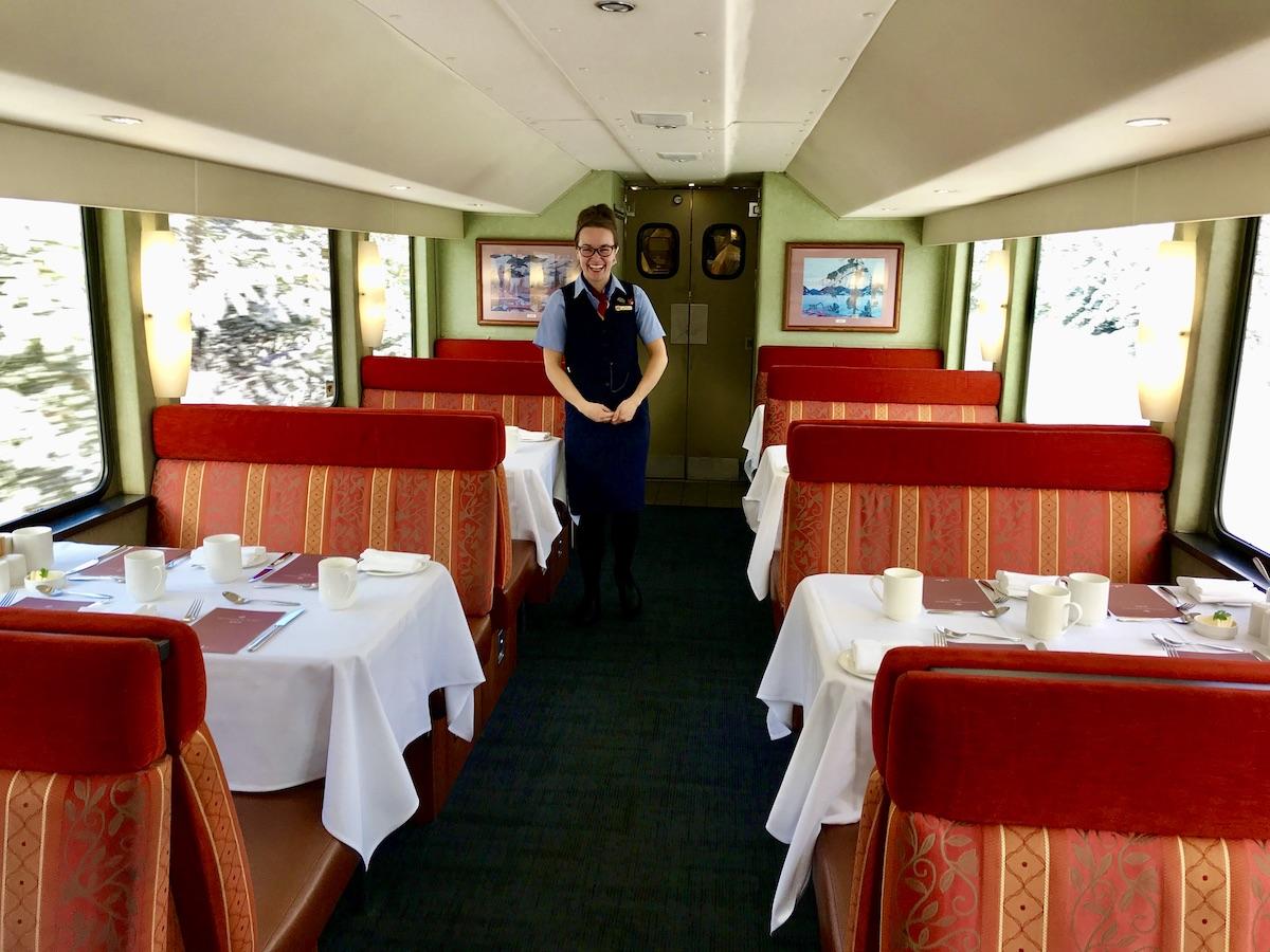 Host Anny Dell shows off the GoldLeaf Service dining area (credit: Jennifer Bain)