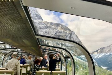 View of the Rockies from inside the glass-domed luxury train (credit: Jennifer Bain)