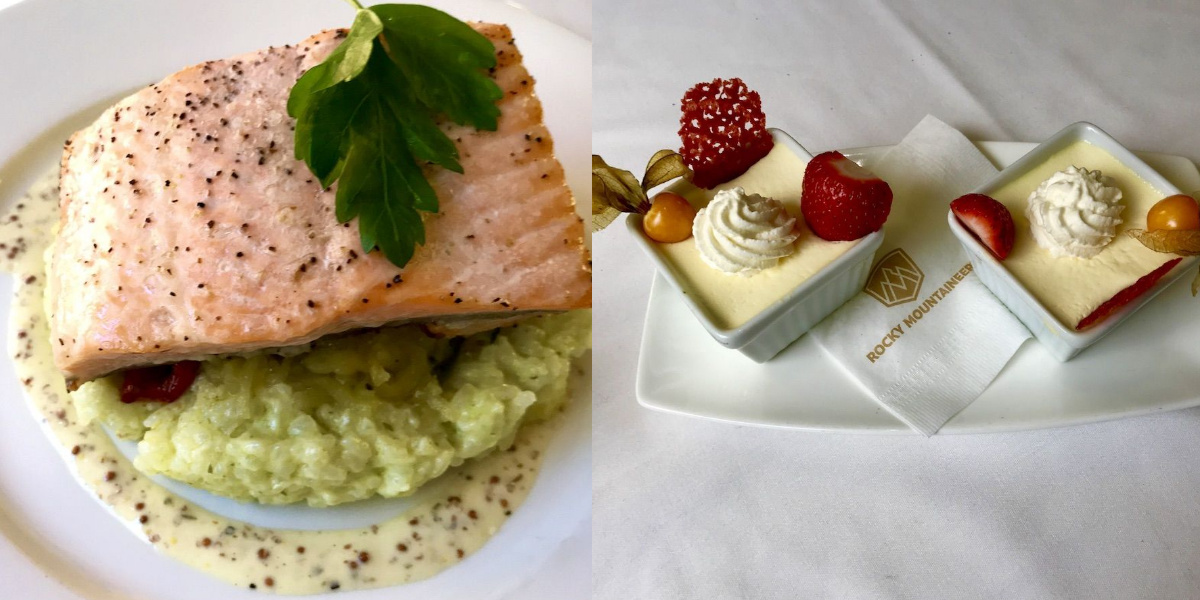 Steelhead salmon with garlic herb jasmine risotto and one of the daily dessert creations (credit: Jennifer Bain)