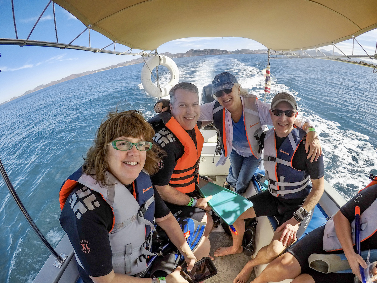 Jennifer Bain (left) and friends get ready to swim with whale sharks (credit: Cabo Adventures)