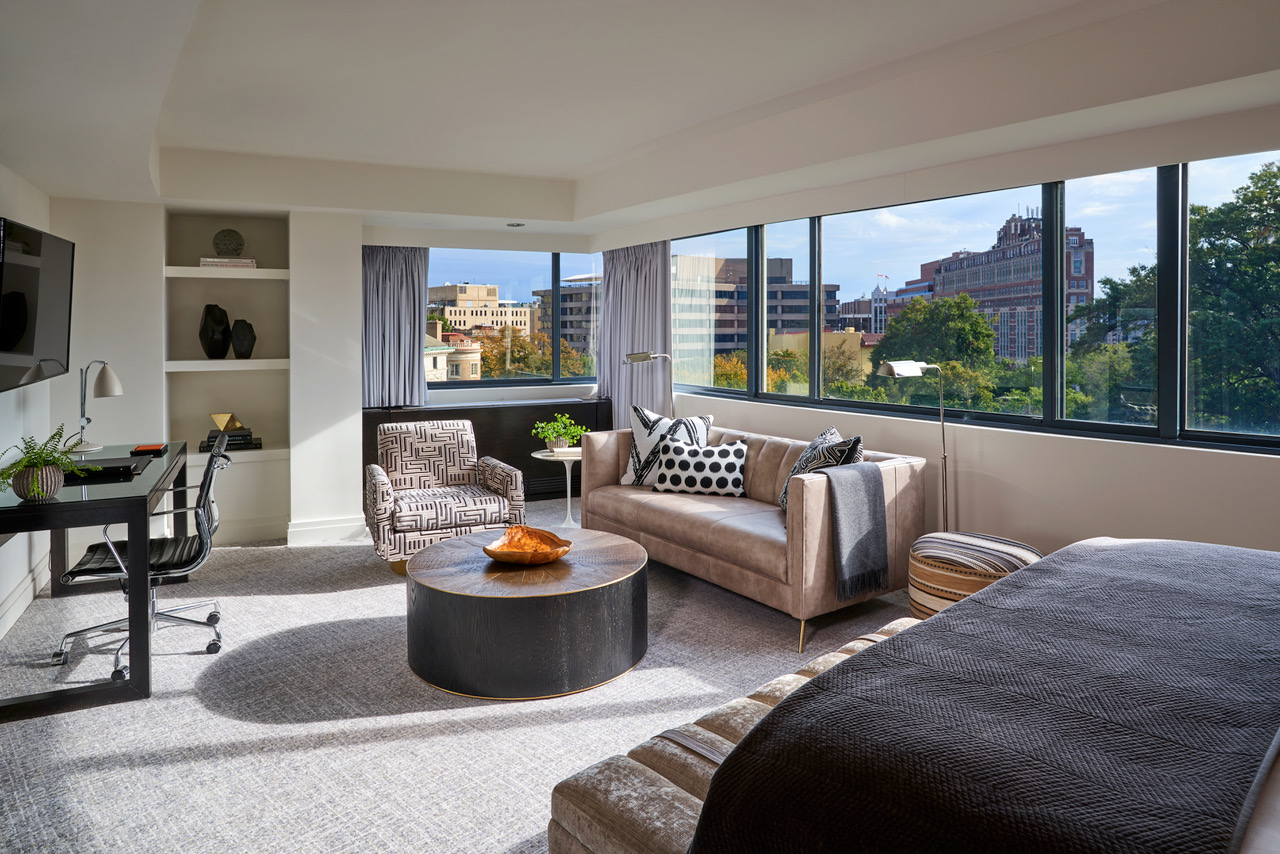 A spacious suite at the Dupont Circle boutique hotel in Washington D.C., one of the new hotels and rejuvenated accommodations that opened in 2020