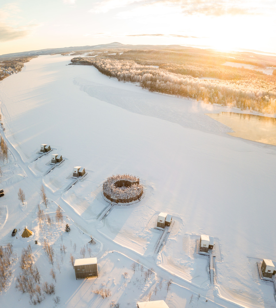 New luxury hotels: Arial view of Arctic Bath wellness hotel and spa in the Swedish Lapland, one of 2020's new hotels and refreshed luxury accommodations