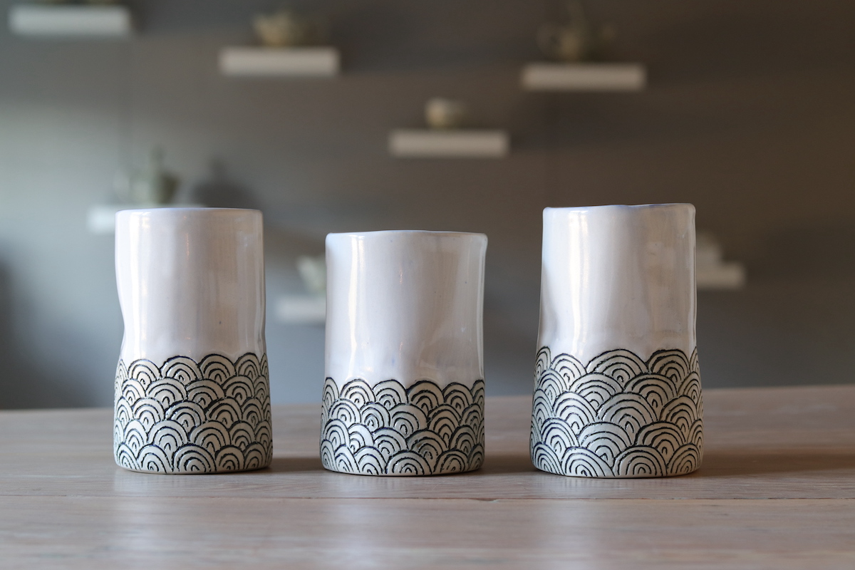 A trio of large Yunomi white clay cups made by Margit Nellmann