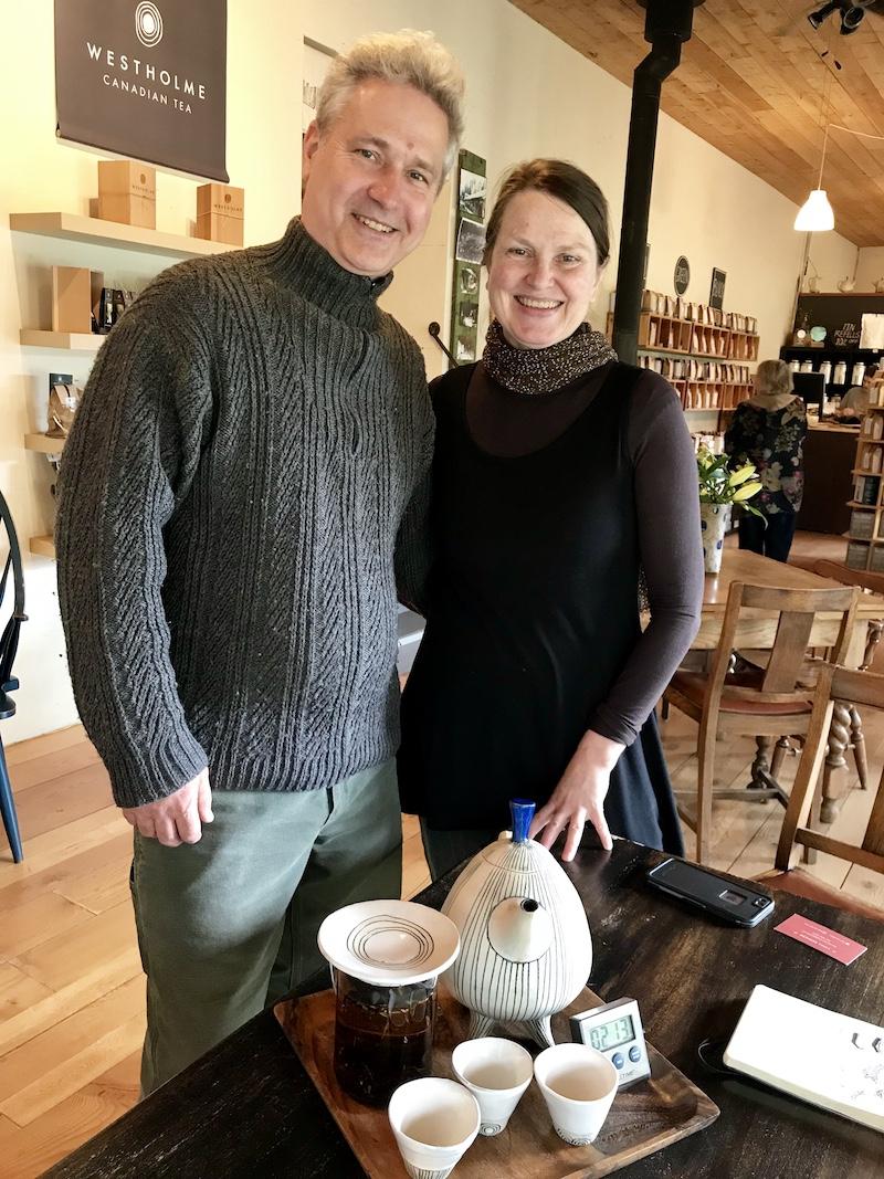 Westholme Tea Farm owners Victor Vesely and Margit Nellman in the tea shop – Linda Barnard