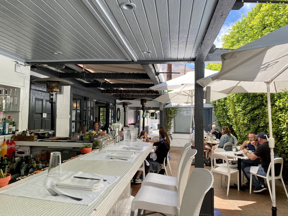 the outdoor bar and patio at Jake's in Palm Springs