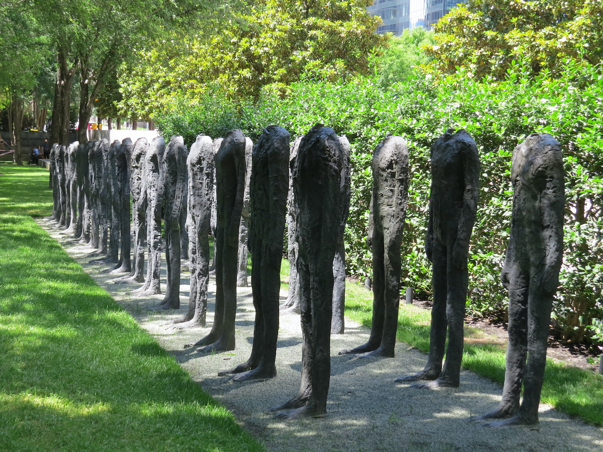 At the Nasher Sculpture Garden, Bronze Crowd by artist Magdalena Abakanowicz asks questions about the human condition and draws from her experience living in Poland during the Nazi invasion.