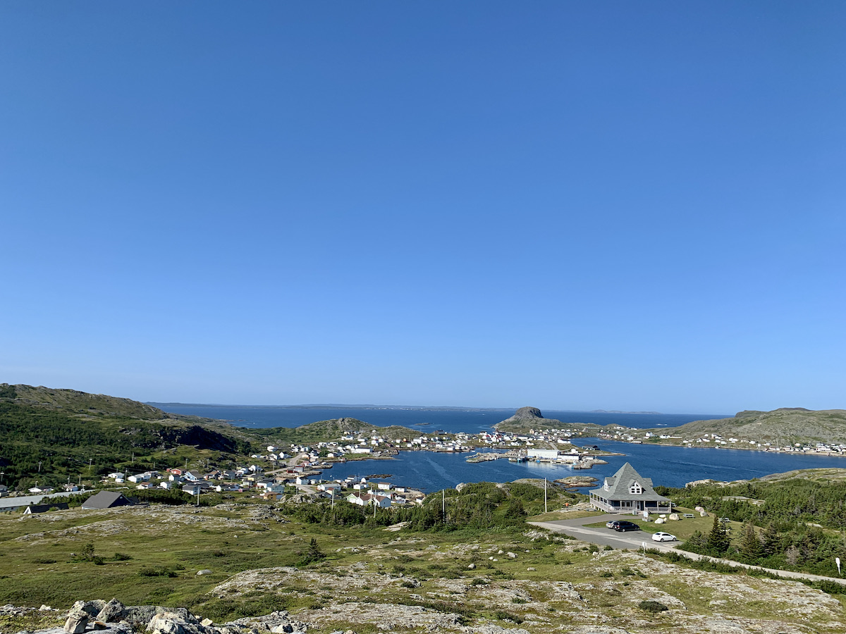 Distant view of the Town of Fogo on Fogo Island