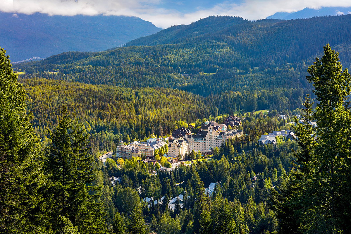 Aerial view of the Fairmont Chateau Whistler