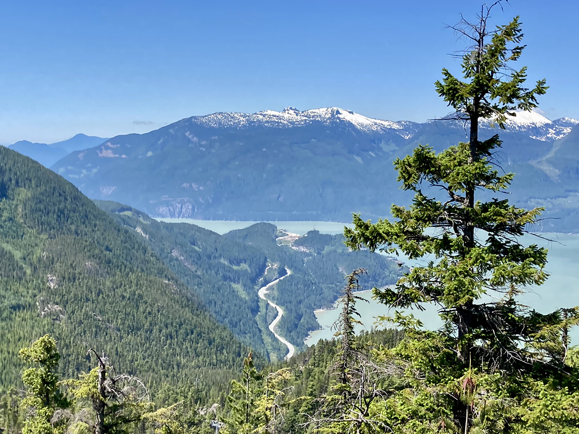 The Sea-to-Sky Highway from the top of Sea-to-Sky Gondola in Squamish