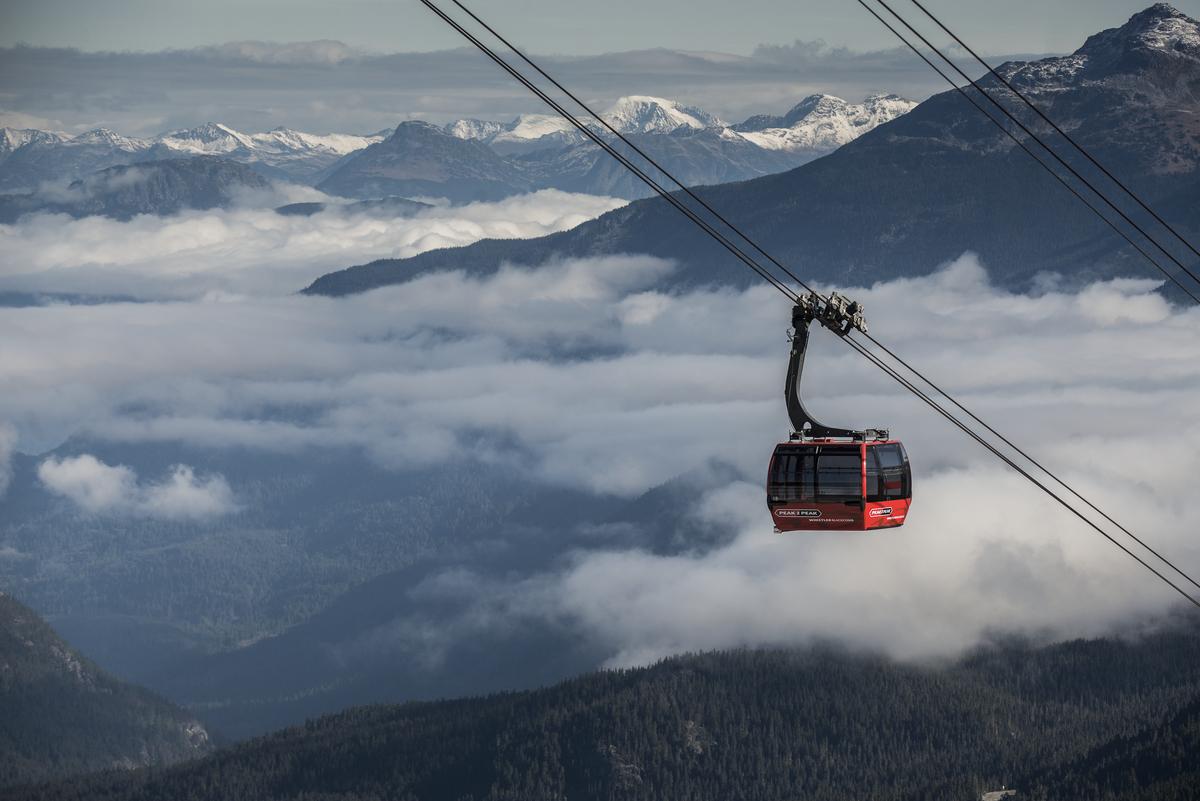 Peak-to-peak gondola connecting whistler with blackcomb mountains
